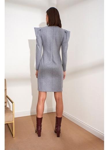 Setre Yaka Karpuz Kol Mini Elbise Gri
